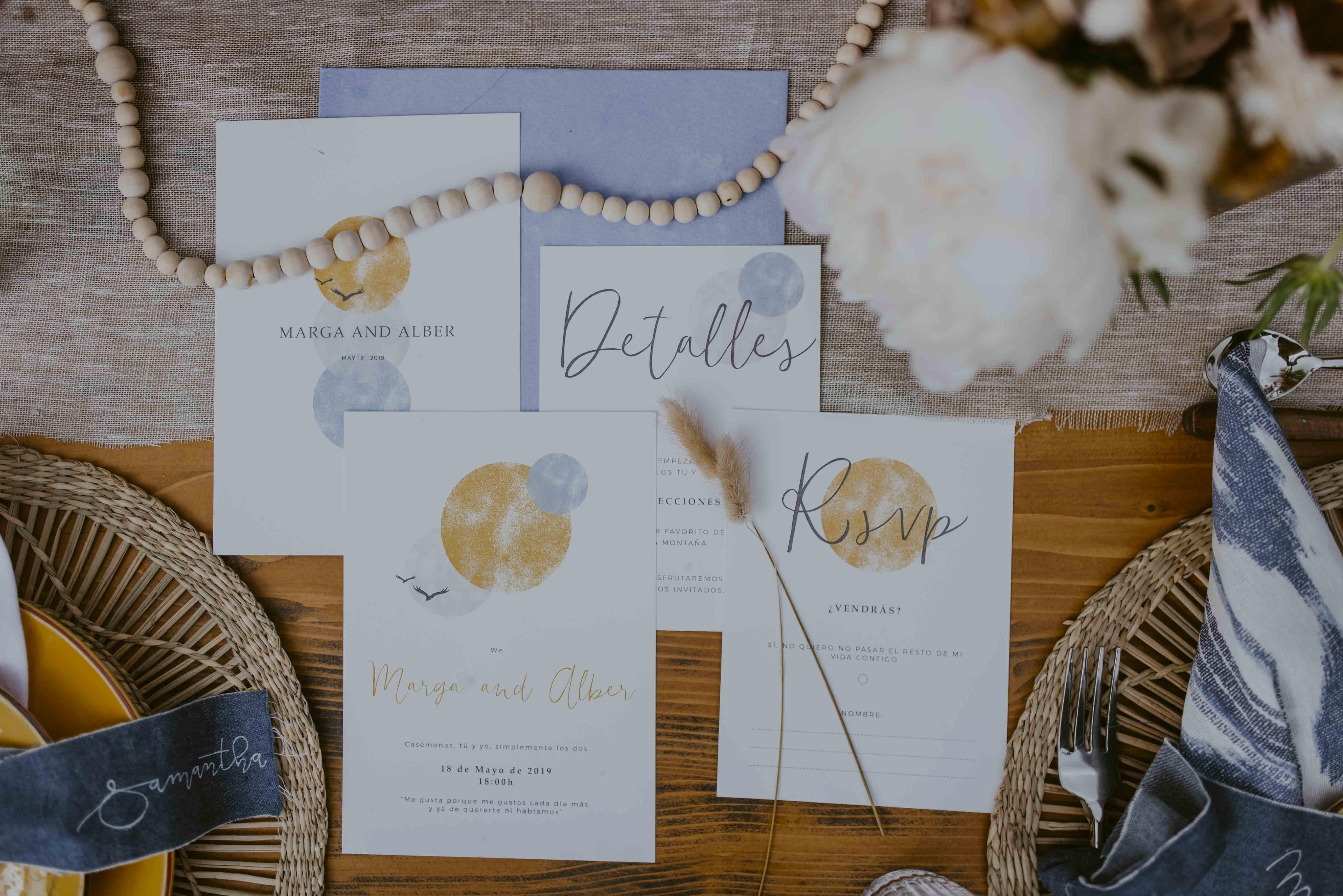 Decoración de boda Amarillo y azul