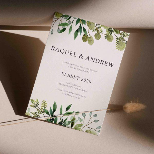 Invitaciones de boda hojas eucalipto