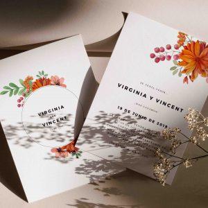 Invitacion de boda con flores naranjas