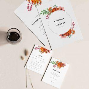 Invitaciones de boda anaranjadas