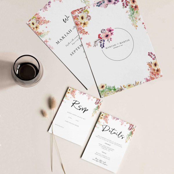 florales acuarela invitaciones de boda
