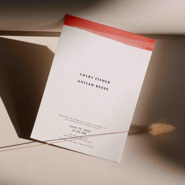 Invitaciones matrimonio acuarela roja