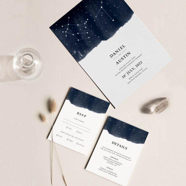 Invitación de boda constelaciones