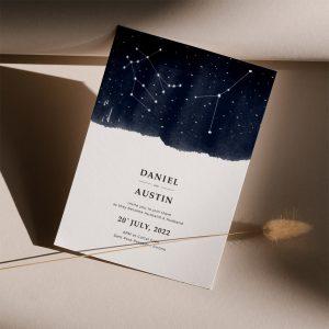 Invitación de boda cósmica